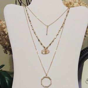 Jewelry - Gold Rose Quartz & Crystal Layered Necklace